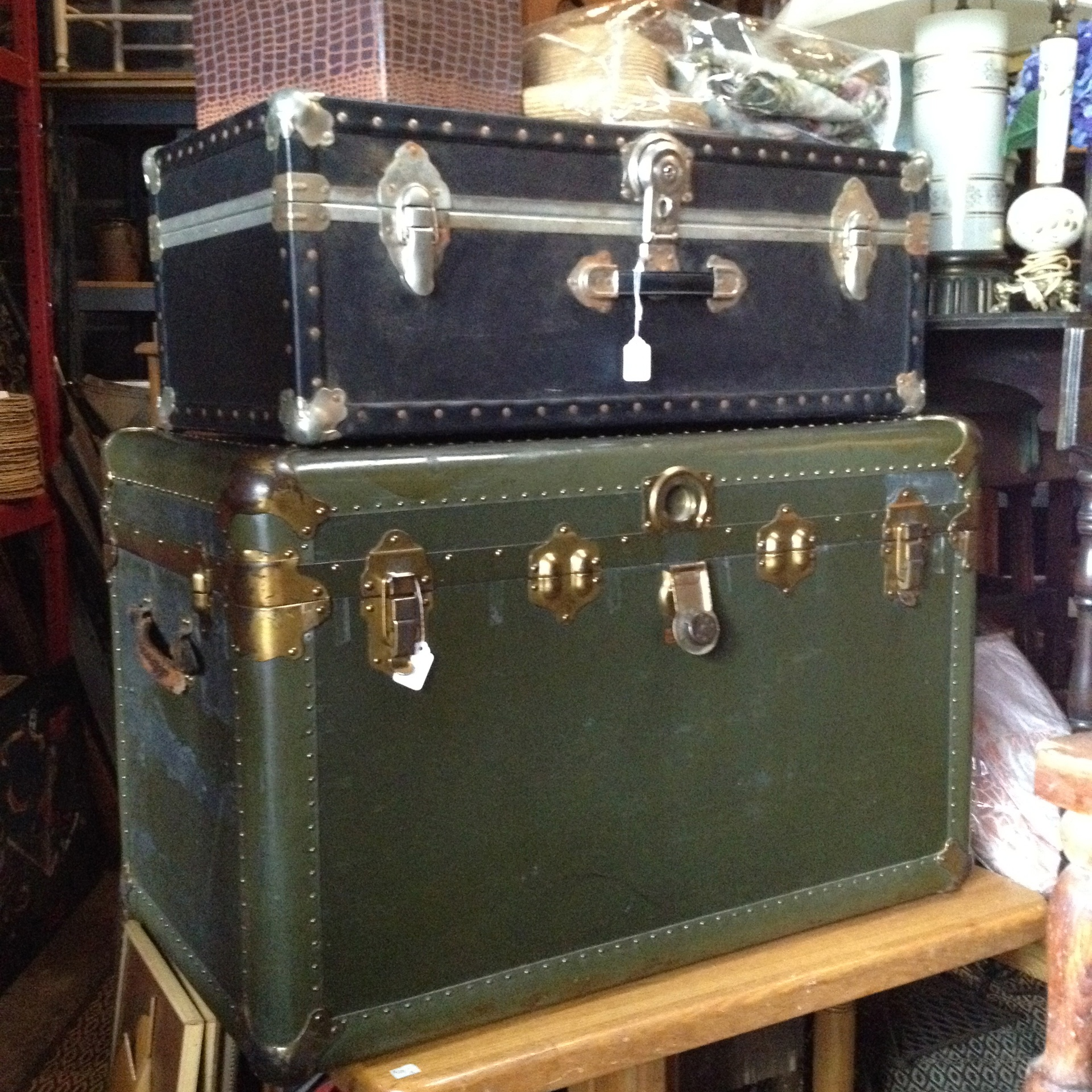 Stacks of Steamer Trunks